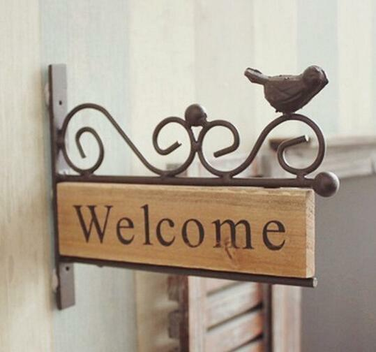 Vintage Shabby House Restaurant Bar Door Welcome Plaque Sign Bird Metal Wood