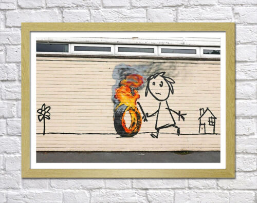 BANKSY TIRE ON FIRE ORANGE DEEP FRAMED CANVAS WALL ART PICTURE PAPER PRINT