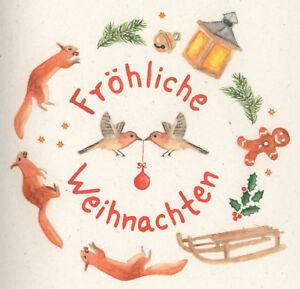 Gemalte Weihnachtskarten.Details Zu Weihnachtskarte Buntes Aquarell Eichhörnchen Vögel Fröhliche Weihnachten Gemalt