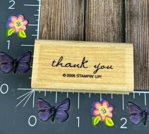 Stampin' Up! Thank You Rubber Stamp 2006 Lowercase Script Wood Mount #B68