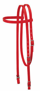 Weaver-Leather-Nylon-Browband-Headstall-Horse-Size-5-8-034-Wide-Red-35-2003