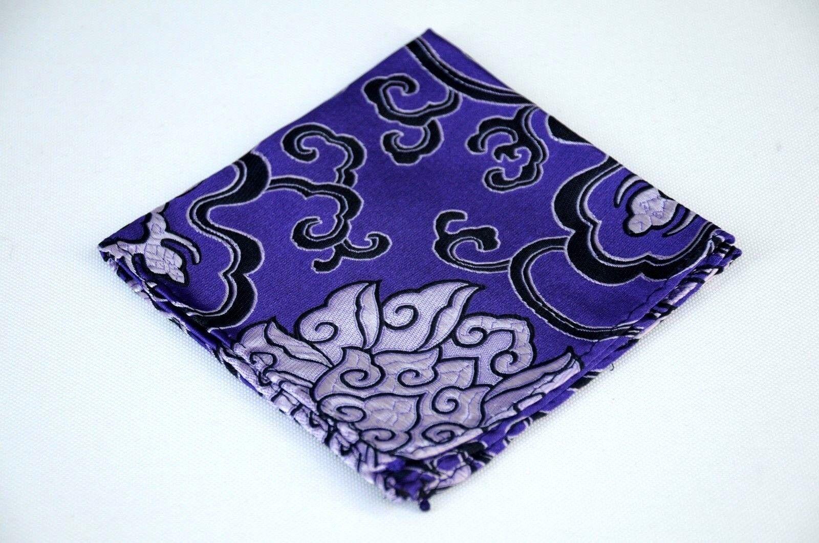 Lord R Colton Masterworks Pocket Square - Purple Black Madness Silk - New