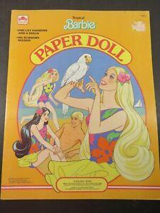 Vintage Tropical Barbie Paper Dolls UNCUT Golden Book New