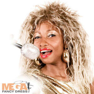 80s Rock Queen Tina Turner Wig Ladies Fancy Dress 1980s Celebrity ... 4e1c31c0e