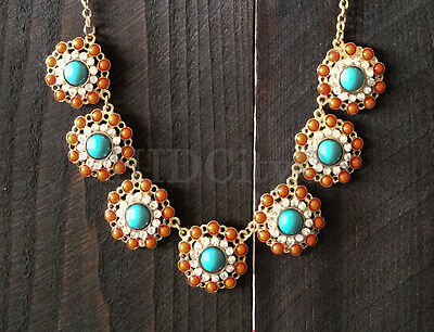 Multi 13 Color Crew Disc Necklace Bubble Rose Beaded NEW US Statement