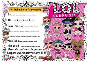 Détails Sur 5 Cartes Invitation Anniversaire Lol Surprise N6