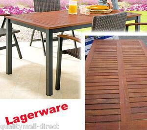 Lagerware Aluminium Gartentisch Eukalyptus Holzplatte 150 X 90 Cm