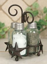 Mason Fruit Canning Jar BARN STAR Salt Pepper and Toothpick Shakers Caddy Holder