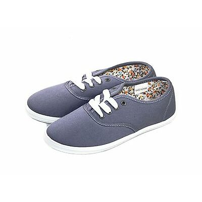 64259538a Casual Comfort Canvas Lace Flats Black Navy Grey Fuchsia Women's Shoes