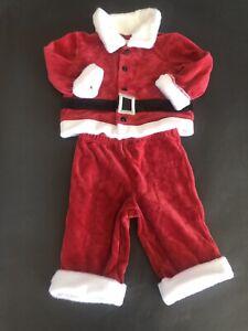 Red One Piece   Infant 3-6 Mo  Santa Jumpsuit Velour