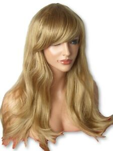 Dark-Blonde-long-WIG-Wavy-curly-fashion-costume-party-Natural-womens-Ladies-C8