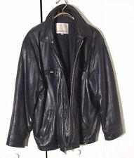 Vtg Distressed London Fog Black Leather Motorcycle Jacket Sz M /L