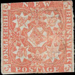 1851-Canada-Used-New-Brunswick-3d-Scott-1-Stamp