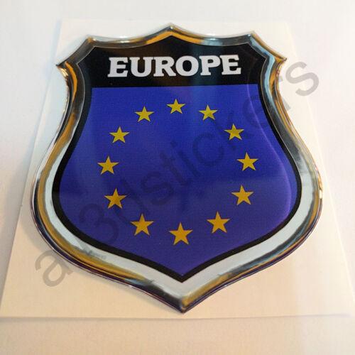 Sticker Europe Emblem 3D Resin Domed Gel Europe Flag Vinyl Decal Car Laptop