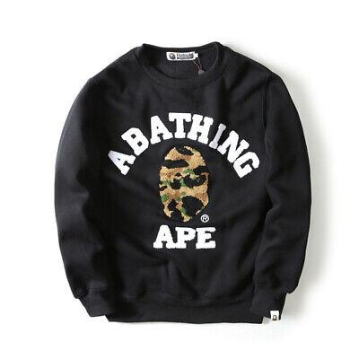 Men Bape A Bathing Ape Pullover Hoodie Long Sleeves Coat Base Shirt Sweatshirts.