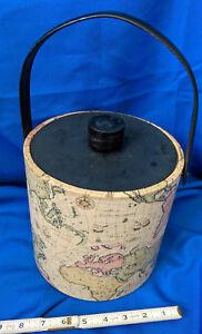 Irvinware-Mid-Century-Ice-Bucket-World-Map-Globe-Mid-Century-VTG-8-034-Barware