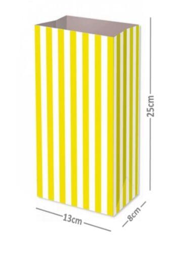 Amarillo Candy Stripe de bolsas de papel Cumpleaños Regalo Fiesta Pastel Caramelo tratar Dulce P/&m