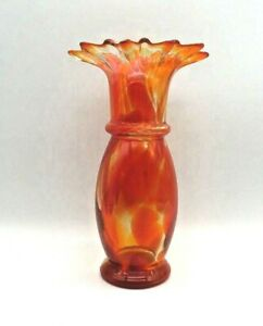 Hand-Blown-Art-Glass-Vase-Orange-Clear-Swirl-With-A-Scalloped-Edge-Vintage