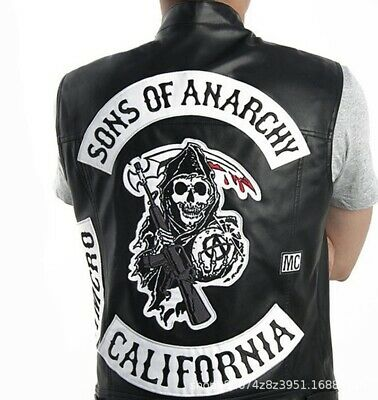 Sons Of Anarchy Jacket Vest Roblox Sons Of Anarchy Vest Motorcycle Club Sleeveless Faux Leather Harley Biker Jacket Ebay