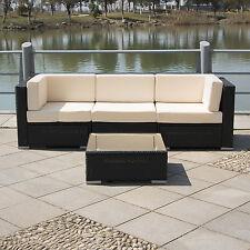 4Pcs Outdoor Patio Sofa Set Sectional Furniture PE Wicker Rattan