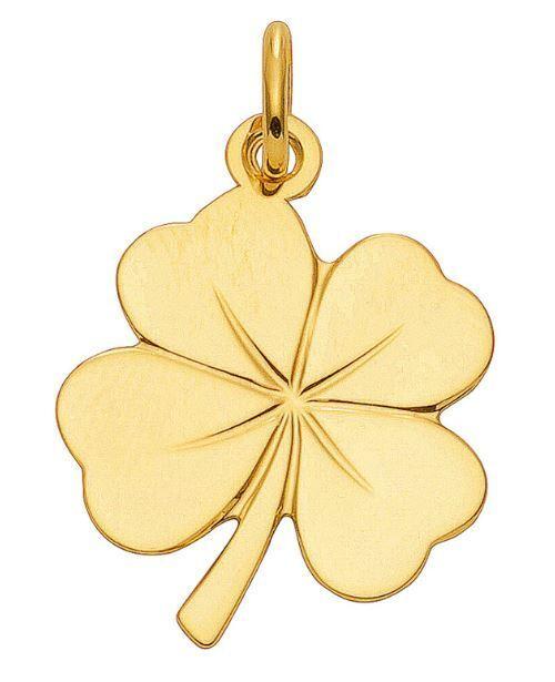 585 gold - yellow-Trébol-Colgante-Colgante de Collar - Superior Modelo - anada