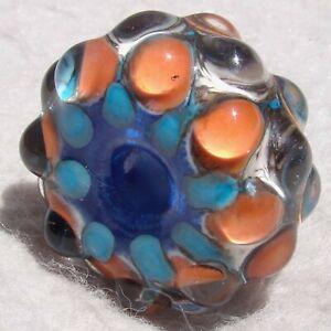 GNARLY #3 Handmade Large-Hole Glass Bead Flaming Fools Lampwork Art Glass SRA