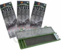 Stiff Rig Wallet Hard Case Box Set & 18 X Barbless Ready Made Rigs Carp Fishing