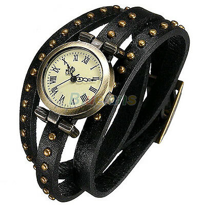 Fashion Women's Retro Punk Rivet Leather Strap Quartz Bracelet Wrist Watches