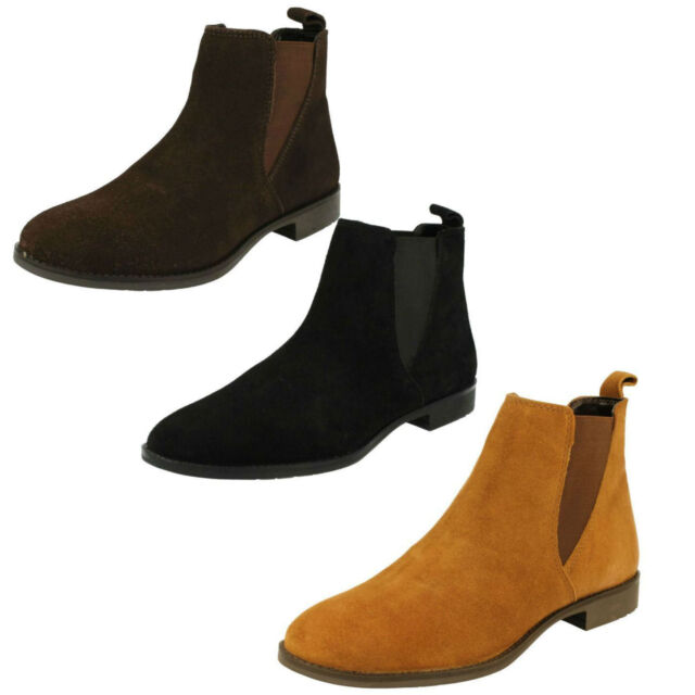 LADIES LEATHER COLLECTION SUEDE PULL ON WINTER CASUAL CHELSEA ANKLE BOOTS F50666