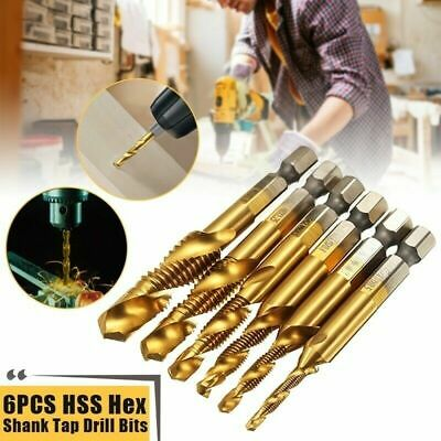 6x M3-M10 Screw Tap Drill Hex Shank Titanium Plated Screw Thread Drill  RQF