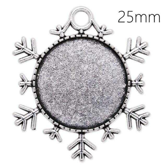 20Pcs 25MM Round Snowflakes Zinc Alloy Cameo Cabochon Pendant Trays Blank Bases