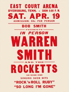 Fifties - Warren Smith And The Rockets Concert Poster reprint (1958)