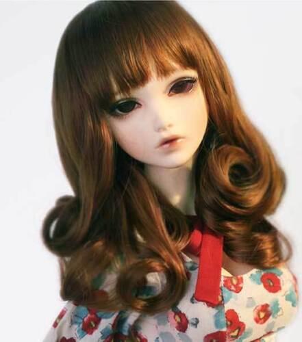 "1//6 6-7/"" BJD Doll Wig Auburn Golden Brown Curls Hair Medium Long Elegant Retro R"
