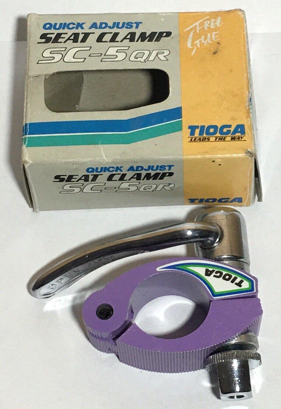 Vintage nuevo viejo stock Tioga SC-5QR Ajuste Rápido Abrazadera del asiento-Raro púrpura