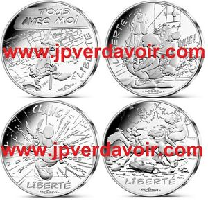 FRANCE-Asterix-12-x-10-Euro-Argent-Valeurs-de-la-Republique-2015-VAGUE-2