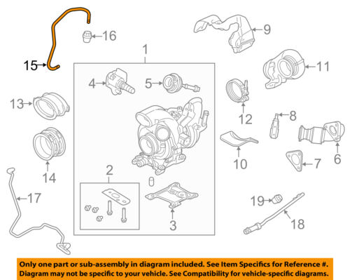 FORD OEM 11-14 F-350 Super Duty 6.7L-V8 Turbocharger Turbo-Oil Tube BC3Z6B689A