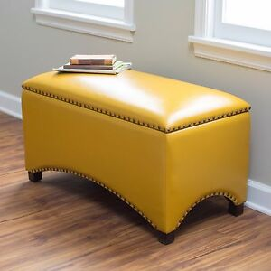 Image Is Loading Storage Bench Seat Indoor Mustard Yellow Ottoman Flip