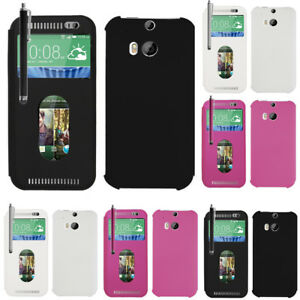 Apercu-Etui-Coque-Pour-Htc-One-M8-un-M8s-Stylet-Fenetre-Telephone-portable