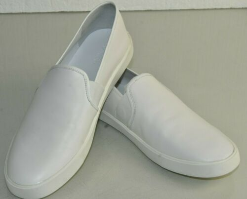 $195 NEW Vince PRESTON Slip On Sneakers White Leather Flat Shoes 5 6.5 9 11