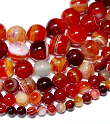Bandachat Perle Kugel glanz rot 4-16 mm 1 Strang #1041 BACATUS Edelstein