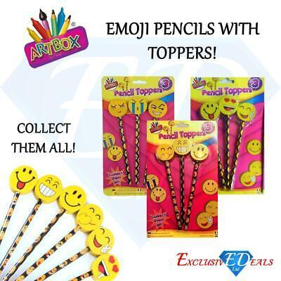 Emotion Emoji Face Pencils /& Eraser Toppers Fun School Stationery Rubber