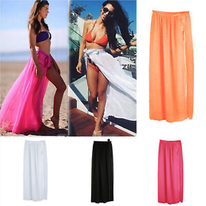 64c2eff44998 Women Bikini Cover Up Swimwear Sheer Beach Maxi Wrap Skirt Sarong ...