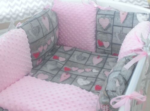 Sweet pink hearts minky cot bedding set 6 pillows bumper! Sleepy Baby J/&J