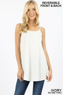 Tank top V-neck scoop-neck front /& back reversible spaghetti cami flowing top