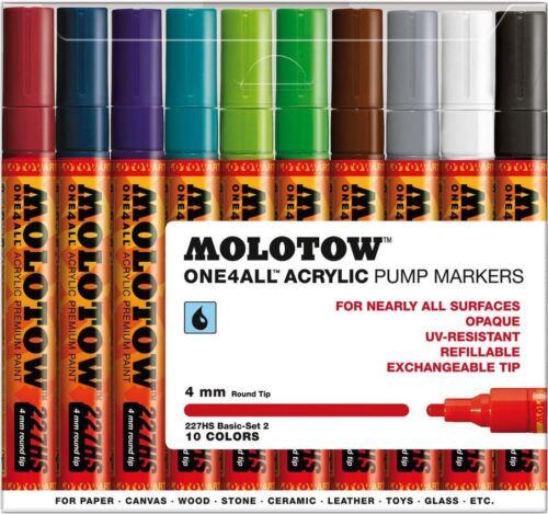 Molotow uno 4 todos 227-10 Pieza Dibujo marcador Pluma Set-Base Set 2