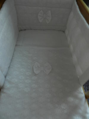 NEW CRIB SET -covered with lace 3 or 4 piece, quilt, bumper, drape or canopy.