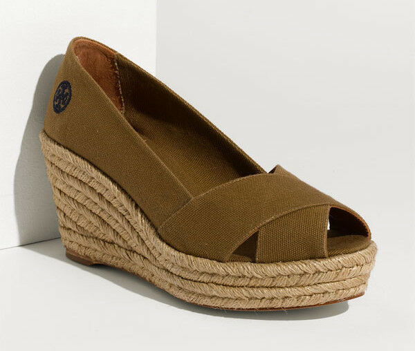 solo per te NIB TORY BURCH Filipa Filipa Filipa Criss Cross Espadrille Platform Wedge Dimensione 10 Olive scarpe  promozioni