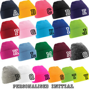 8ed6b68548a Image is loading PERSONALISED-Initial-Embroidery-Boys-Girls-Beanie-Wolly-hat -