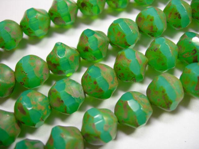15 9mm Turquoise Opal Picasso Firepolished Thru Cuts Czech Glass Beads