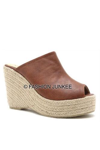 BROWN WEDGE MULES Slip On Shoes Espadrille Open Toe Peep Heels Sandals 5.5-10